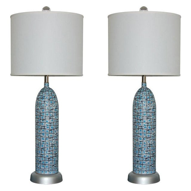 Marbro Italian Ceramic Table Lamps and Bowls Blue For Sale - Image 12 of 12