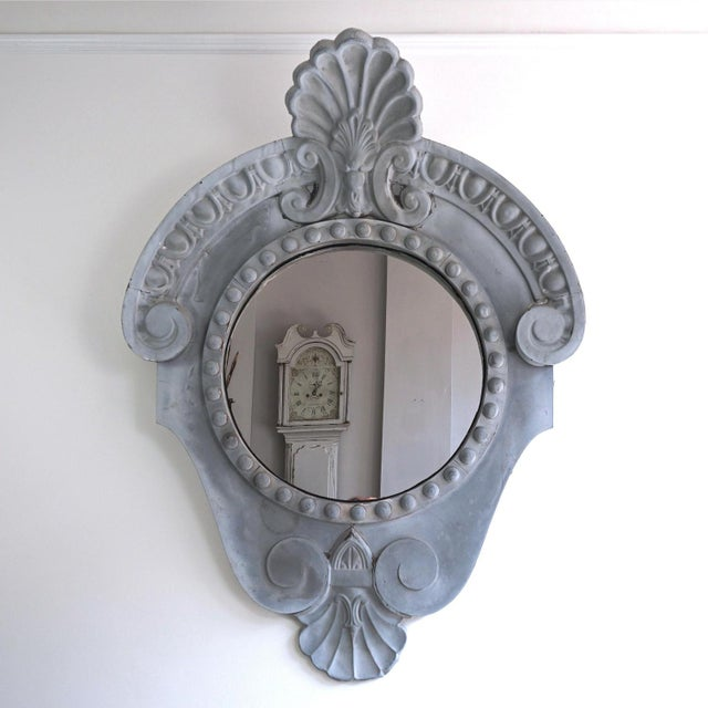 Gray Magnificent Oeil De Boeuf Mirror From the Old Courthouse in Antwerp Dated 1871 For Sale - Image 8 of 8