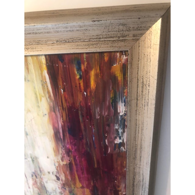 """""""Warm Horizon"""" Contemporary Abstract Expressionist Acrylic Painting, Framed For Sale In Seattle - Image 6 of 9"""