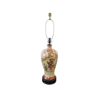 Vintage Asian Hand-Painted Crackle Glaze Lamp With Cherry Blossoms For Sale