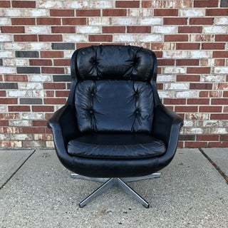 1970s Vintage Selig Imperial Black Egg Lounge Chair and Ottoman Preview