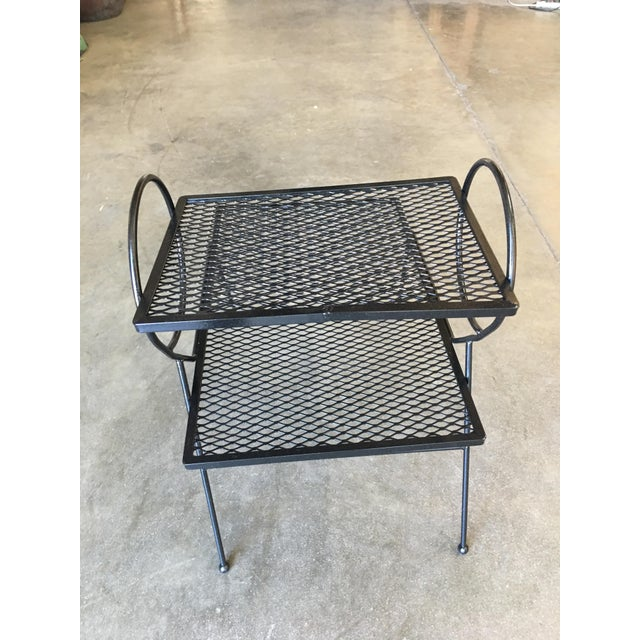 Early Art Deco Two-Tier Mesh Steel Outdoor/Patio Side Table by Woodard For Sale In Los Angeles - Image 6 of 7