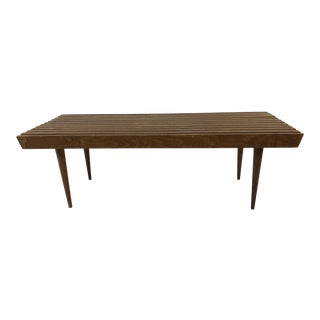 Vintage Mid Century Modern Wood Slat Table Bench in the Style of George Nelson For Sale