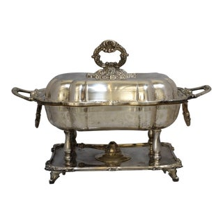 Silver Plate Crown Silver Co English Sheffield Chafing Dish With Burner For Sale