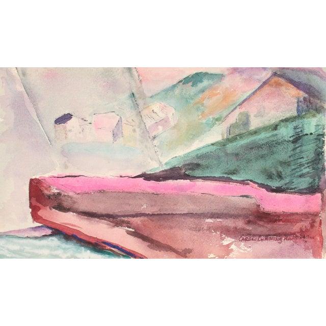 """Yellow Field"" Jewel Toned Scene in Watercolor For Sale"