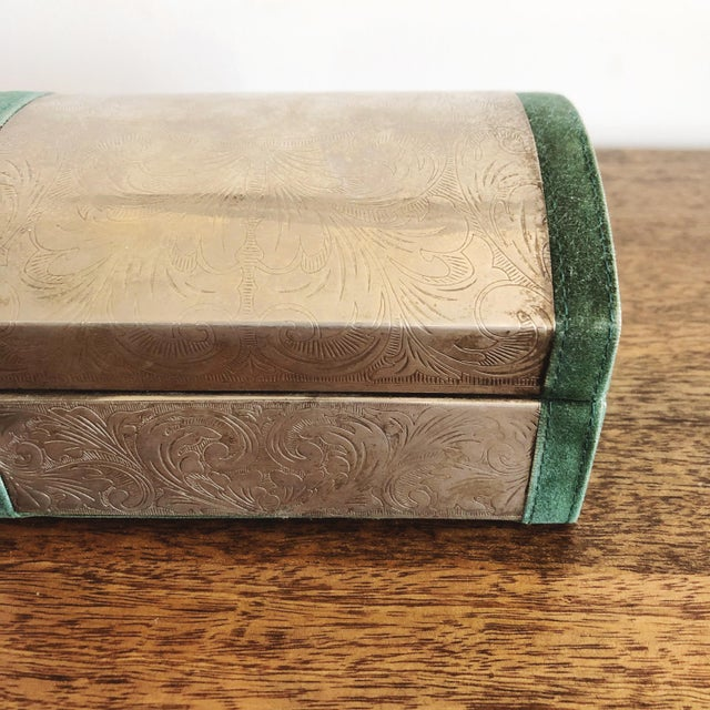 Embossed Tin and Green Velvet Box For Sale - Image 4 of 7
