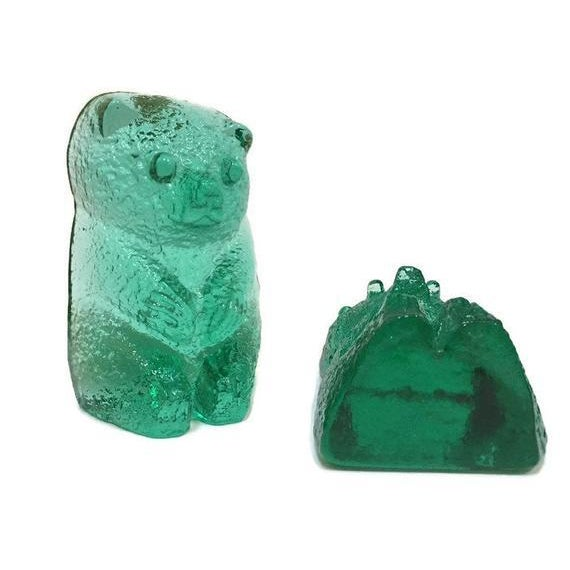 Vintage Blenko Glass Mint Green Bear Sculptures/Bookends - a Pair For Sale - Image 9 of 12