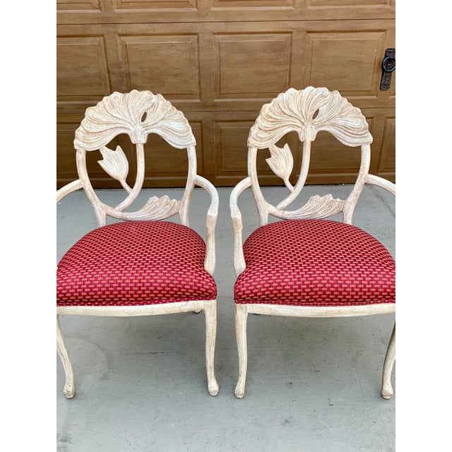 White Art Nouveau Style Carved Dining Chairs - Set of 8 For Sale - Image 8 of 12