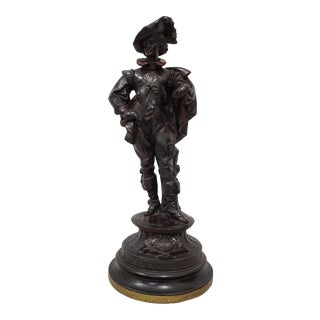 "Vintage Painted Spelter ""Musketeer"" Sculpture, Mid 20th Century For Sale"
