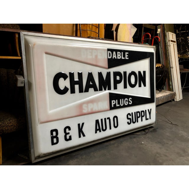 1970s Vintage Everbrite Industrial Metal-Framed Double-Sided Champion Auto Supply Service Sign For Sale - Image 5 of 10