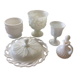 Milkglass Serving Dishes & Vases - Set of 5 For Sale