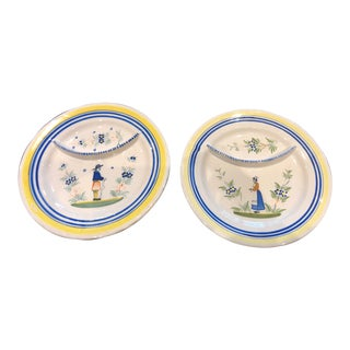 Quimper France Porcelain Plates, Pair For Sale