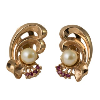 14k Rose Gold Ruby and Pearl Clip Bow Earrings - a pair For Sale