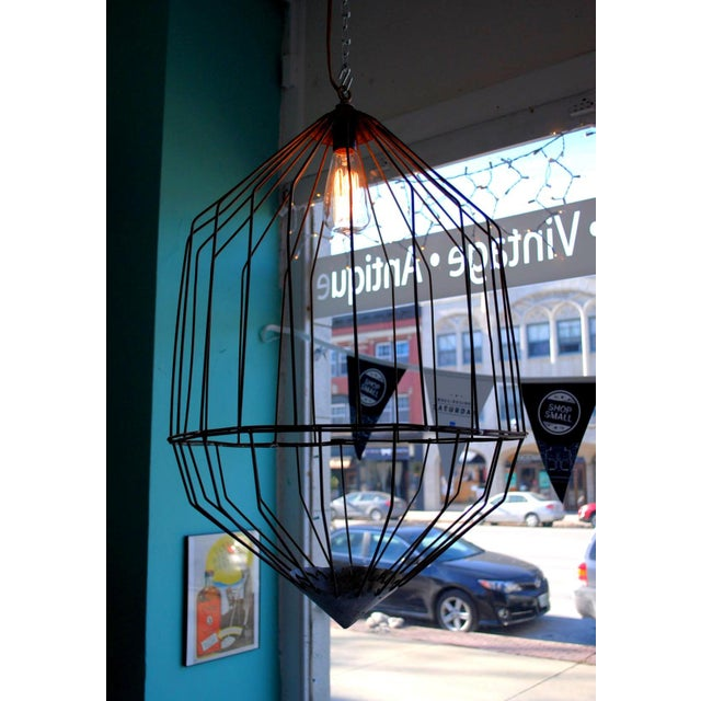 Large Industrial Wire Cage Pendant Lamp | Chairish