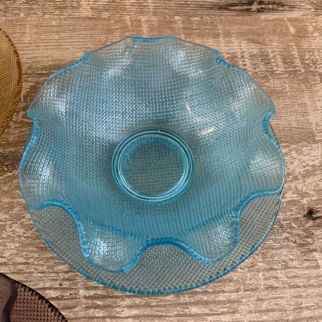 Mid 20th Century Colorful Vintage Glass Dessert Bowls and Saucers For Sale - Image 5 of 12