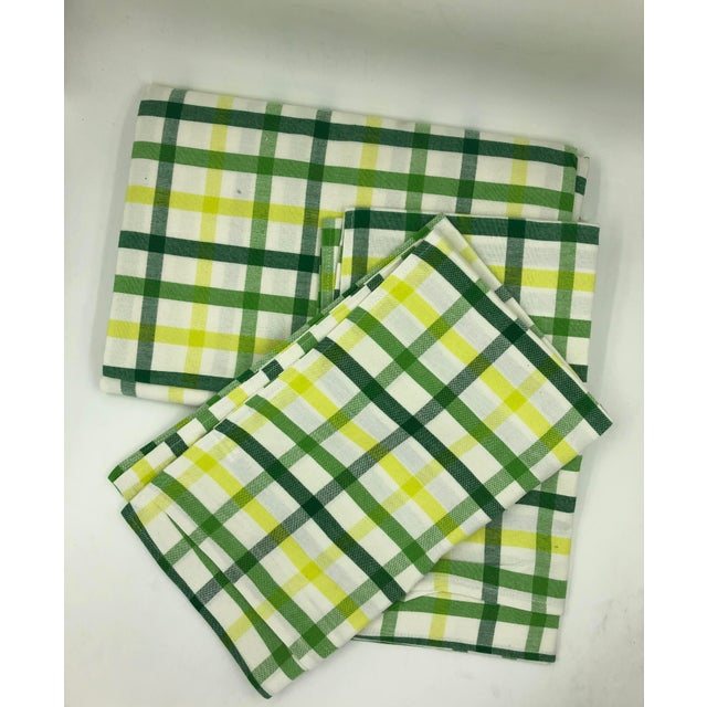 """Green Top Sheet Flat 100% Cotton Handloom Hand Woven White Green Yellow Citrus Madras Checks 80 X 60"""" Inch Pillow Covers New For Sale - Image 8 of 8"""