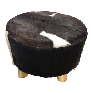 20th Century Boho Chic Cowhide Ottoman For Sale