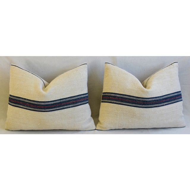 "French Woven Blue & Red Striped Grain Sack Feather/Down Pillows 24"" X 18"" - Pair For Sale In Los Angeles - Image 6 of 13"