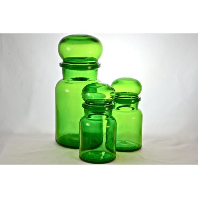 Green Belgium Ball Top Apothecary Jars - Set of 3 - Image 2 of 5