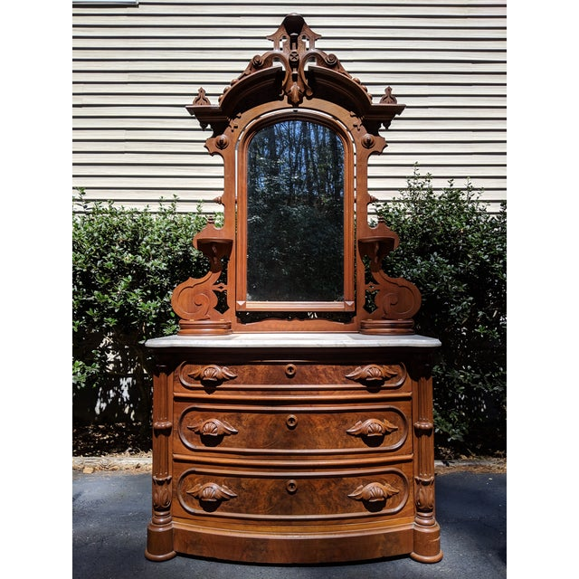 20th Century Renaissance Revival 3-Drawer Marble Top Walnut Dresser & Vanity Mirror For Sale - Image 13 of 13