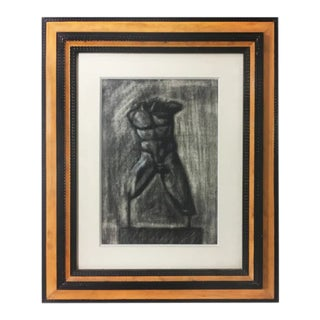 Charcoal Drawing of Greek Statue For Sale