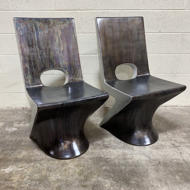 "Phillips Collections ""z"" Dining Chairs - a Pair For Sale - Image 10 of 10"