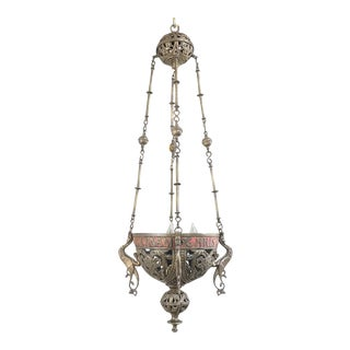 19th Century Gothic Bronze Incense Burner Chandelier For Sale