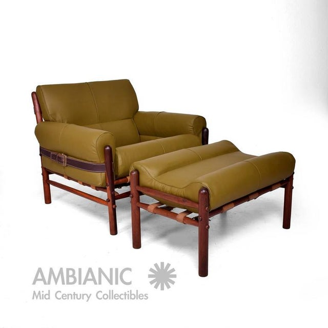 "For your consideration a Arne Norrel ""Kontiki""Safari Lounge Chair & Ottoman by Arne Norrel, Denmark, circa 1960s...."