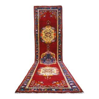 Hand-Knotted Turkish Oushak Runner Rug. Antique Tribal Long Runner 3′4″ × 13′ For Sale