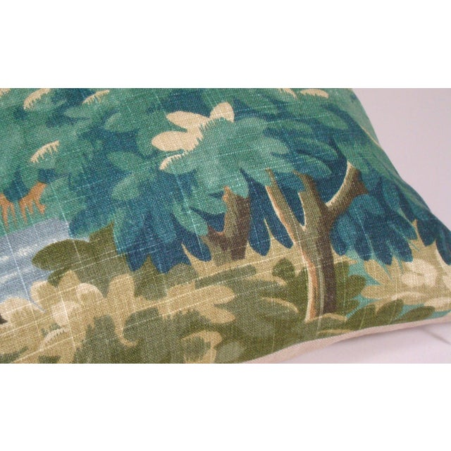 2020s Verdure Print Linen Large Lumbar Pillow Cover For Sale - Image 5 of 11