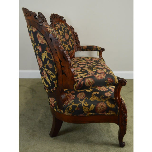 Rococo Revival Fine Carved Rosewood Sofa For Sale In Philadelphia - Image 6 of 13