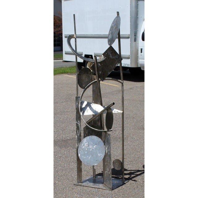 Contemporary Modern Tall Stainless Steel Abstract Outdoor Floor Sculpture Signed For Sale - Image 4 of 8