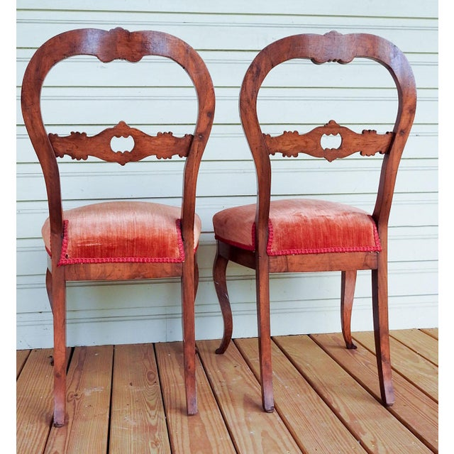 Art Nouveau Antique Walnut Hand Carved Velvet Side Chairs - a Pair For Sale - Image 3 of 12