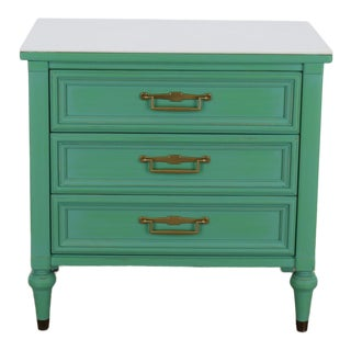 Mid Century Modern 3-Drawers Nightstands, a Mid Century Nightstand, Green Nightstand For Sale