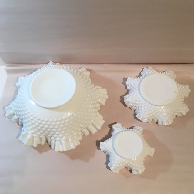 Fenton Hobnail Milk Glass Crimped Bowls - Set of 3 For Sale In Kansas City - Image 6 of 9