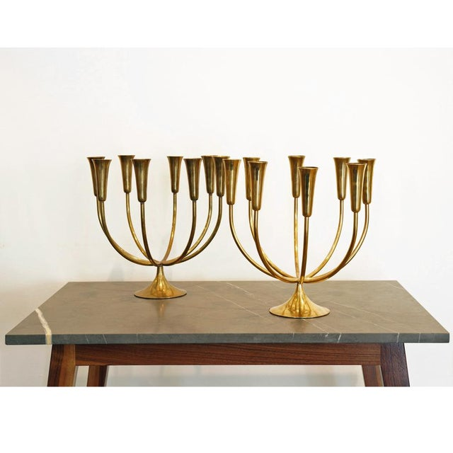 Mid-Century Scandinavian Design. Handcrafted Solid Brass Candelabras. Made in Denmark. Priced as a pair ... if sold...