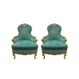 Pair of French Louis XV Cream Painted Carved Turquoise Bergere Armchairs For Sale