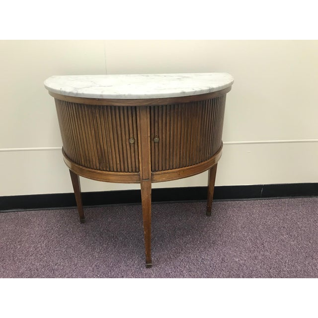 20th Century French Demi Table with Marble Top For Sale - Image 9 of 9