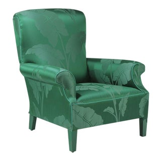 1940s Vintage Emerald Green Silk Fancy Vintage Club Chair For Sale