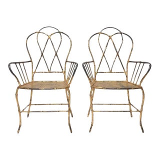 Pair of 1960s Gilt Metal Faux Bamboo Armchairs For Sale
