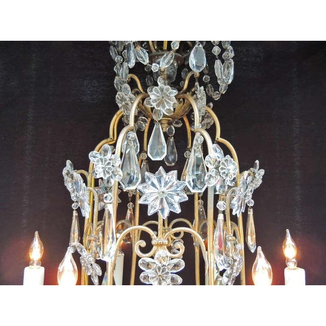 French Early 20th C French Bronze Crystal Chandelier, attributed to Maison Baguès For Sale - Image 3 of 10