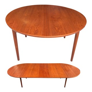 "54"" to 116"" Erik Worts Teak Dining Table Worts Mobler For Sale"