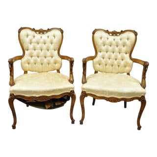 Hollywood Regency French Louis XV Style Carved Chairs Fireside Armchairs - a Pair For Sale