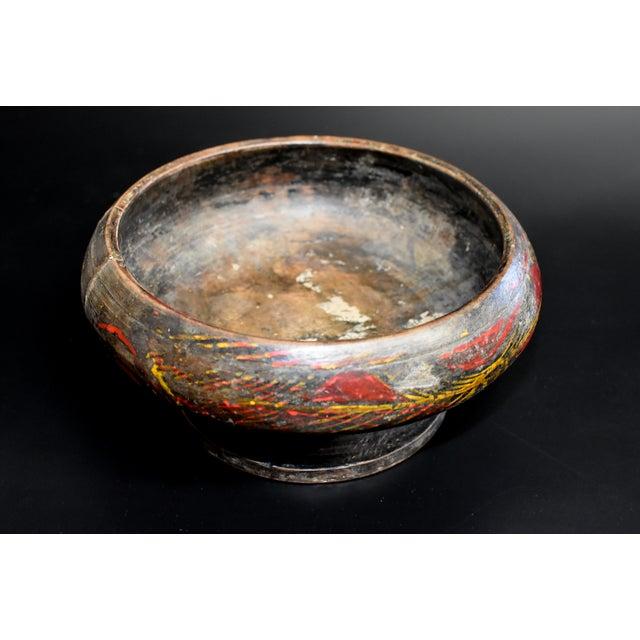 Antique Tibetan Wheat Motif Wooden Bowl For Sale - Image 12 of 13