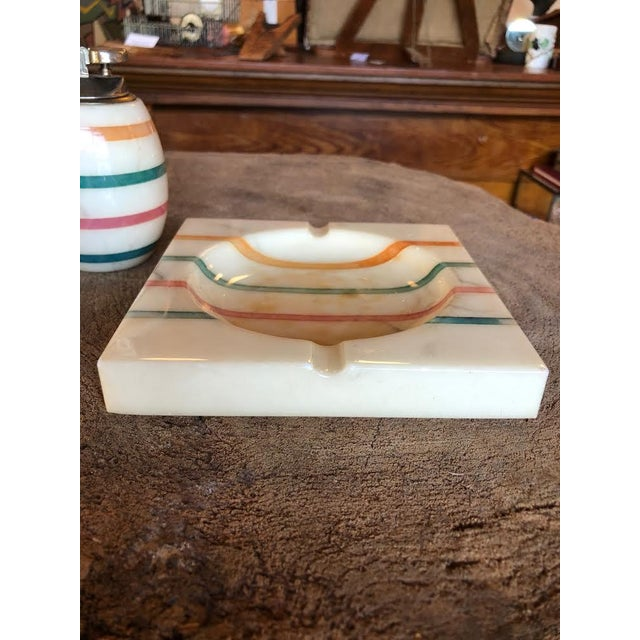 1960s 1960s Italian Alabaster Ashtray and Lighter Set For Sale - Image 5 of 13