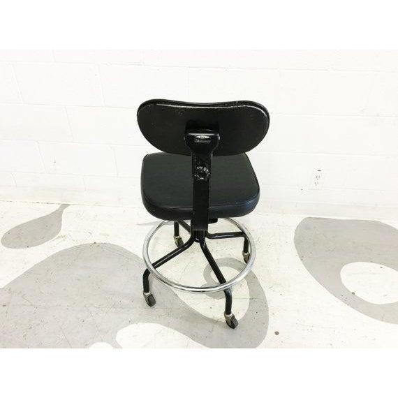 Mid-Century Black Vinyl Industrial Chair - Image 6 of 6