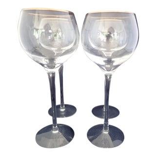 Gold Rimmed Crystal Wine Glasses - Set of 4 For Sale