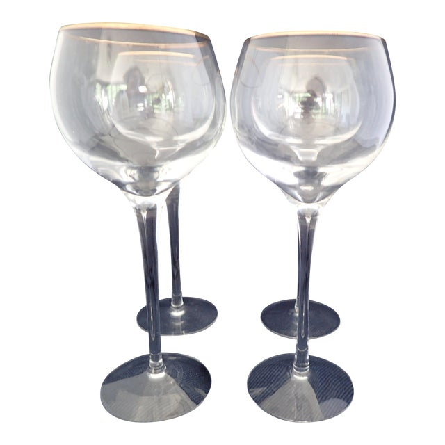 Gold rimmed crystal wine glasses set of 4 chairish - Lenox gold rimmed wine glasses ...