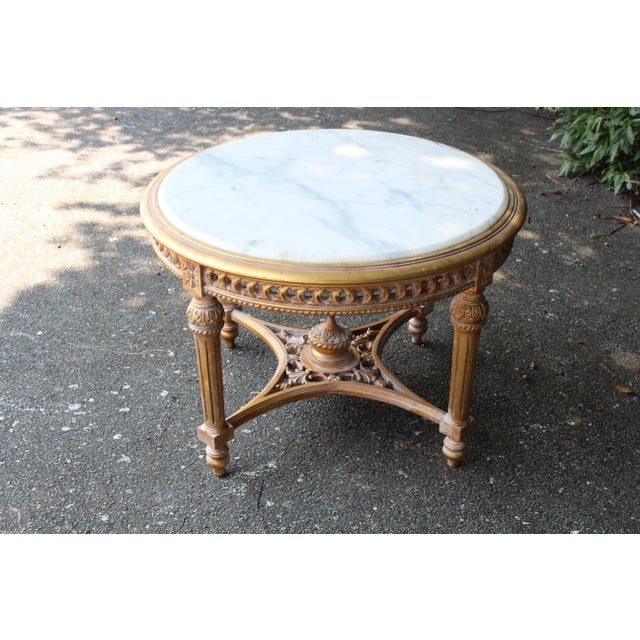 20th Century Louis XVI Accent Table With Marble Top For Sale In Atlanta - Image 6 of 7