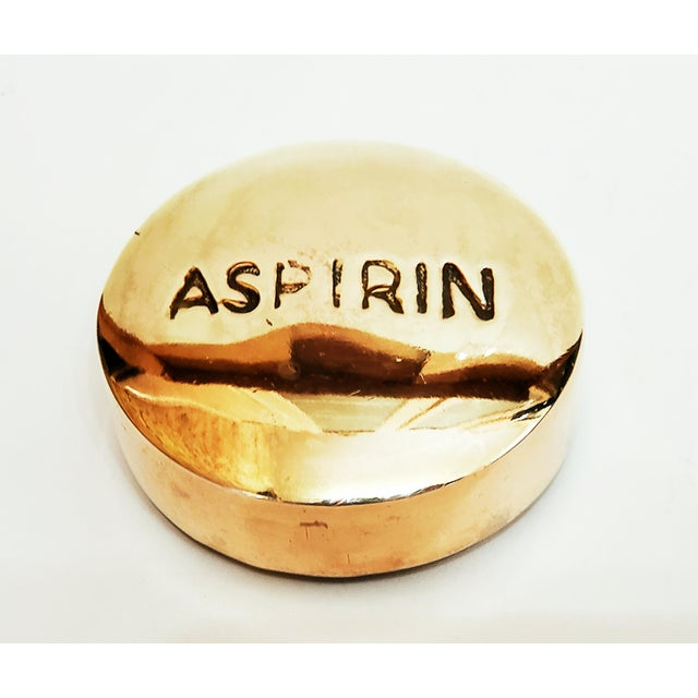 1970s Vintage Brass Aspirin Paperweight For Sale In Chicago - Image 6 of 6